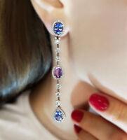 Ct Oval Blue Sapphire Amethyst Simulant Diamond Halo Dangle Chandelier Earrings