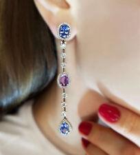9Ct Oval Blue Sapphire Amethyst Simulnt Diamond Halo Dangle Chandelier Earrings