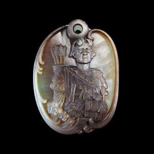 Carved Native American MOP & Gem Pendant Bead GE026016