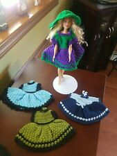 "Hand Crocheted Doll Dresses & hat, beautiful designs & colors, Barbie or 8"" Doll"