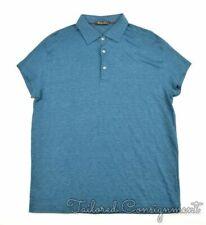 LORO PIANA Solid Blue Cotton Mens Short Sleeve Casual Polo Dress Shirt - LARGE