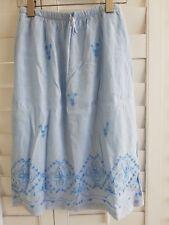 Women's Linen Light Blue Embroidered Skirt