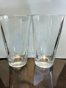 Red Lobster Restaraunt Clear Etched Lobster Pint Tumbler Glass Set Of 2