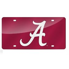 Alabama Crimson Tide Red Mirrored Laser Cut License Plate Laser Tag