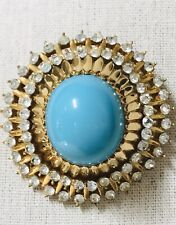 Vintage Jomaz Faux Turquoise Rhinestone Brooch Domed