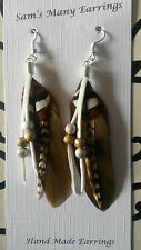 Native American Feather Earrings 925 Silver Hooks Available