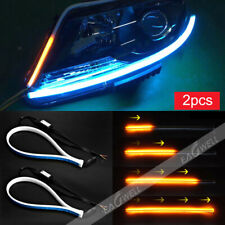 2pcs 45cm Slim Car Soft Tube LED Strip Daytime Running Light Turn Signal Lamp WQ