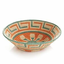African Basket Gorgeous Radiance Orange Green Fruit or Display Hand Woven Art