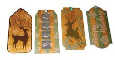 Molly Rex 16 Gold Foil 3-D Christmas Gift Tags Reindeer Noel 14226 Punch Studio