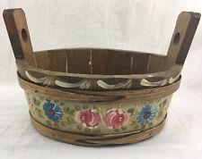 "Vintage German Hand Made Painted Floral Tole  Wood Bucket Basket Bavarian 7""tall"