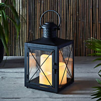 Black Metal Battery Operated Indoor Outdoor Lantern with 3 Flameless LED Candles
