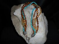 """4 STRAND CITRINE/TURQUOISE/FRESHWATER PEARL AND STERLING SILVER 18"""" NECKLACE"""