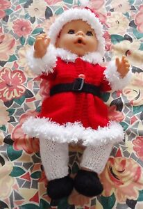 Santa's Helper Jacket Hat Shoes Belt Red Baby Born Knitted Clothes Doll 38-42cm