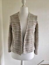 Mango Fitted Summer Jacket Blazer UK10/12 Nude Beige Muted Colours Stripe Boho