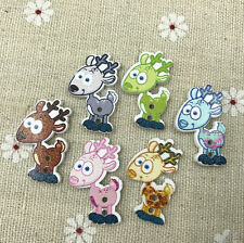 25X Cartoon Deer animal buttons Sewing Wooden 2-holes scrapbooking craft 28mm