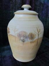 Australian Studio Pottery 29cm tall Maldon Pottery lidded pot with gumtree scene