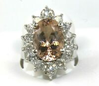 Oval Morganite & Diamond Halo Solitaire Lady's Ring 14k White Gold 8.38Ct