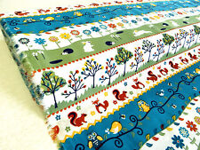 """by METRE 58"""" wide WOODLAND ANIMALS 100% Cotton fox squirrel rabbit owl bird tree"""