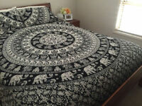 Indian Bohemian Hippie Mandala Bedding Queen Size Bedspreads Elephant Bed Cover