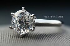 Engagement Ring 14k Real White Gold 2.00 CT Round Cut D/VVS1 Solitaire Knife-Edg