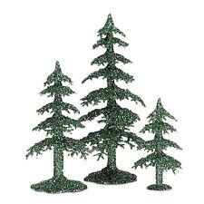 Dept 56 Village Acrylic Green Glitter Trees #53032 NIB (h108)