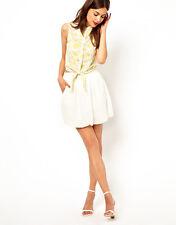 Whitney Eve Jackie Tulip Party Mini Skirt With Pockets in Cream UK 6/EU 34/US 2