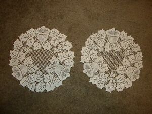 Ivory lace Christmas design Table Doily's set of 2