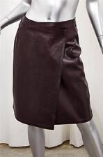 CHANEL 99A Womens Burgundy Leather Lambskin Knee-Length Wrap Pencil Skirt 38/6