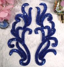 "0170 ~ ROYAL BLUE BEADED SEQUIN APPLIQUE MIRROR PAIR 9""  SEWING CRAFTS MOTIF :)"