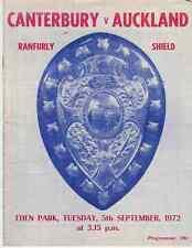 Auckland v Canterbury 5 Sep 1972 Ranfurly Shield, NZ Rugby Programme