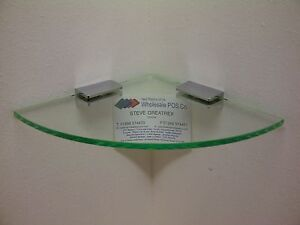"""Perspex® Corner Shelf in 5mm Thick Glass """"Look"""" Glass Effect Acrylic 6"""" Wide"""