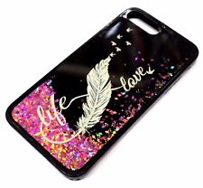 For iPhone 7 PLUS - LIFE LOVE Feather Rose Gold Pink Glitter Liquid Water Case
