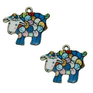 Sheep Charms Blue Enamel Pendant Gold Plated Pack of 4