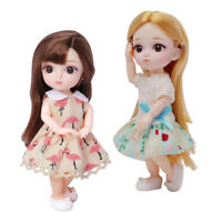 2x Mini 12 Joints 16cm 1/8 Baby Doll Lovely Dress Up for BJD Dolls Toy DIY Accs