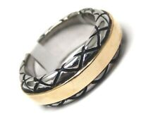 Men's Gold PVD Ring Stainless Surgical Steel 2 Tone Size 10 Biker Inspired