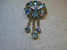 Vintage Gold Tone A.B. Rhinestone Brooch, with Dangle Strands, 2""
