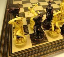 "GREEK ROMAN MYTHOLOGY GODS Chess Set W/ 14"" Ebony Black & Maple Wood Board"