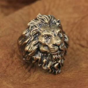 Linsion High Detail Brass Lion King Ring Mens Biker Rock Punk Ring BR128A