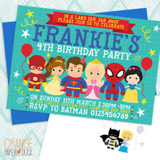 5 X Personalised Fairytale PRINCESS * SUPERHERO Birthday Party Invitation Invite