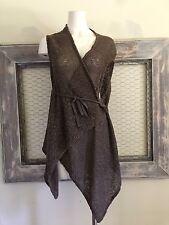 Bryn Walker Cardigan Open Front  Yarn Knit Lagenlook Brown Assymetrical Large