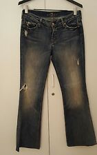 7 FOR ALL MANKIND FLARE JEANS DISTRESSED DESTRUCTED 29 BLUE