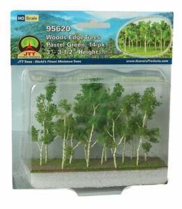 "JTT (HO-Scale) 95620 Wood Edge Trees PASTEL GREEN 3-3.5"" (14 pk)  - NIB"