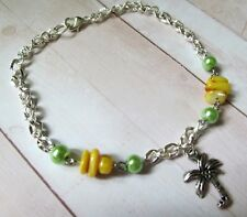 Yellow and Green Palm Tree Anklet, Seashell Anklet, Beach Anklet, Sea Charm