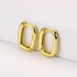 Tiny Rounded Rectangle Hoop Huggies Gold Vermeil Sterling Silver Hoop