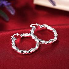 Women Fashion 925 Silver Hoop Stud Earrings Wedding Jewelry DLE156