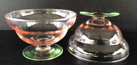 Vintage Tiffin Depression Glass Watermelon Bowls Footed Pink Green Set Of 2