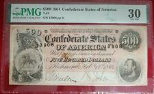1864 $500 Confederate States of America C.S.A. Note T-64 PMG VF-30
