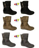 Women's Ladies Faux Suede Wedge Boots Hidden Slouch Low Heel Ankle Shoes Size Uk