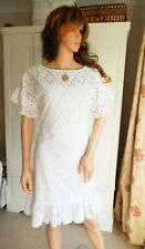 NWT New Karen Millen white cotton broderie anglaise eyelet lace dress 32-34 bust
