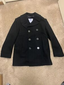 Authentic Mens Military USA Navy 100% Wool  Pea Coat Jacket 40R